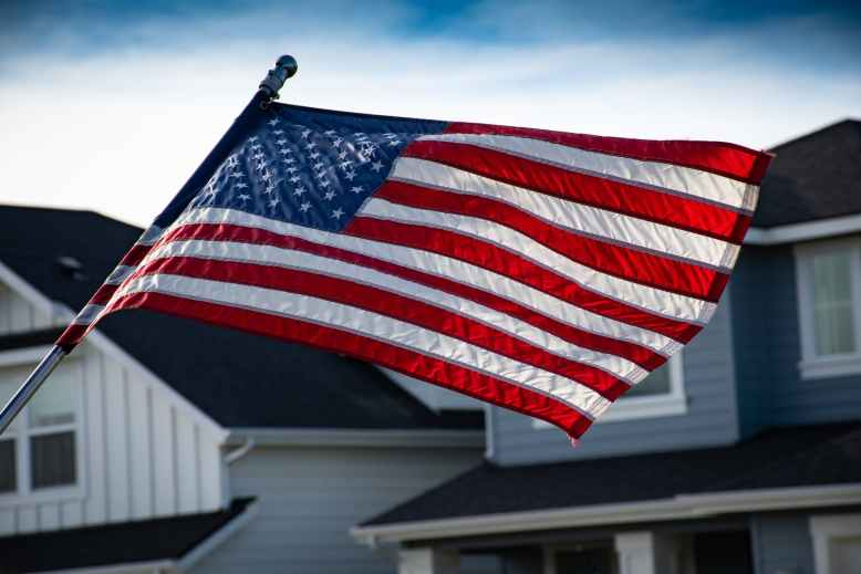 close up photography of american flag