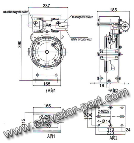 OX-187 Bi-directional Overspeed Governor For Machine Room