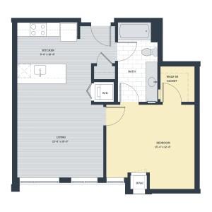 One Bedroom 1C Floor Plan