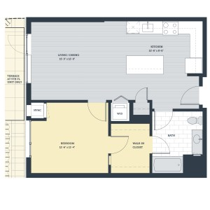 One Bedroom 1D Floor Plan