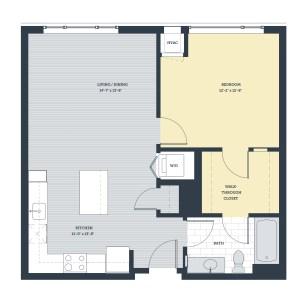 One Bedroom 1E Floor Plan