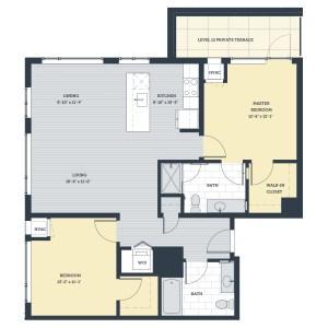Two Bedroom 2B Floor Plan