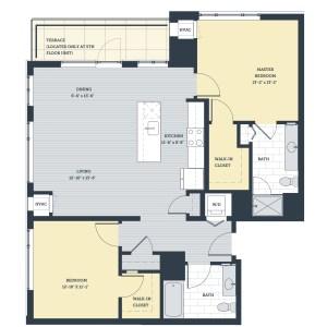 Two Bedroom 2K Floor Plan