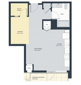 One Bedroom OE Floor Plan