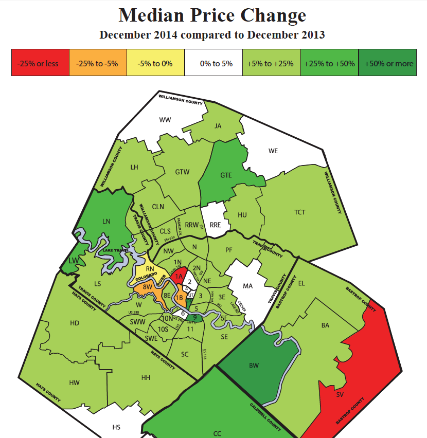 Austin housing prices increased and decreased most in 2014