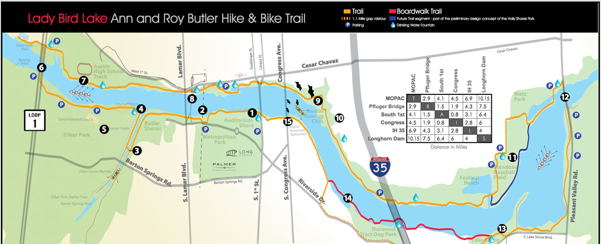 Ann and Roy Butler Hike and Bike Trail Map