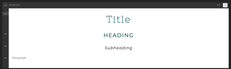screenshot of heading tags with fonts in Showit app website builder
