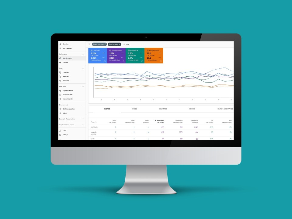 google search console screen for checking seo rankings