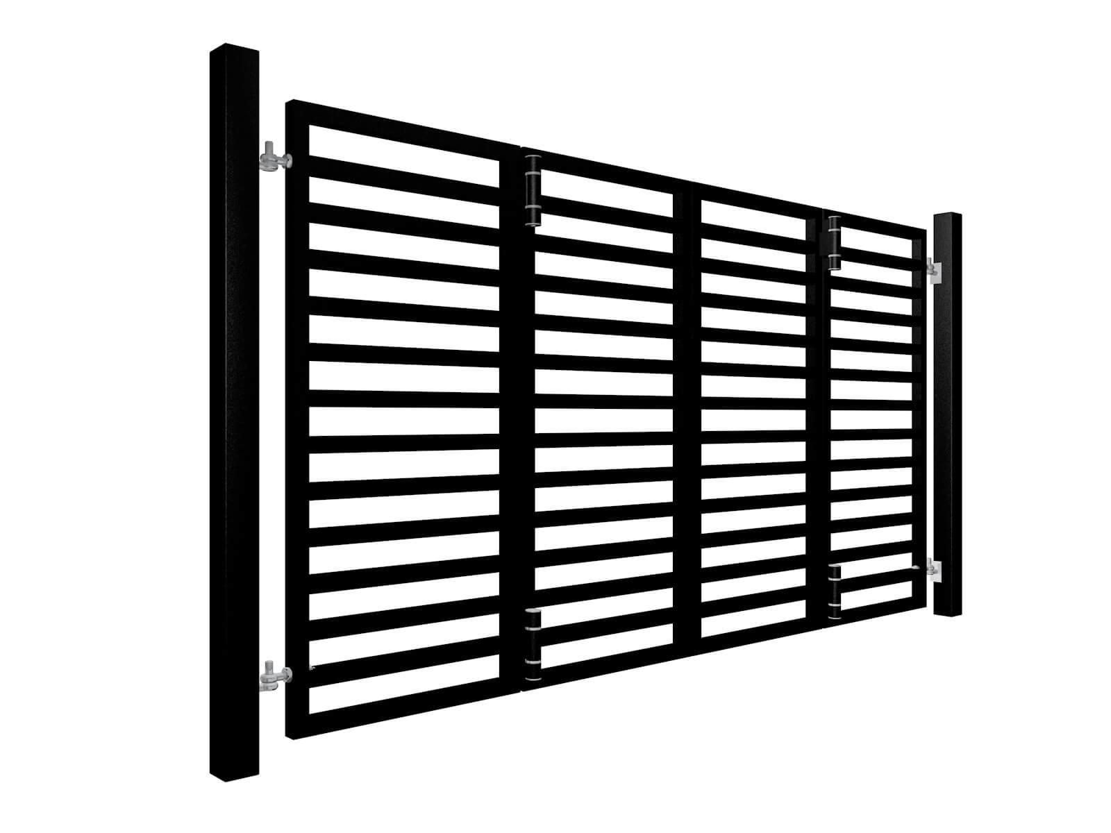 Black Powder Coated Bi Fold Horizontal Metal Box Section Automated Gates Somerset