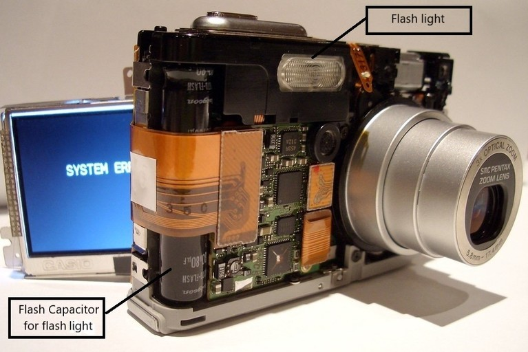 Flash capacitor in digital camera