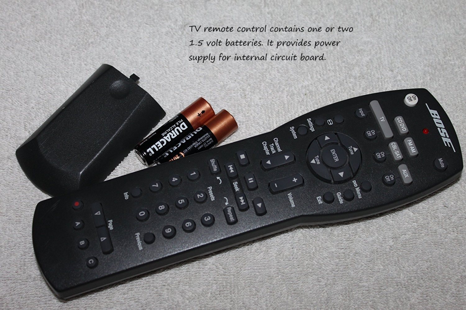 TV remote with batteries