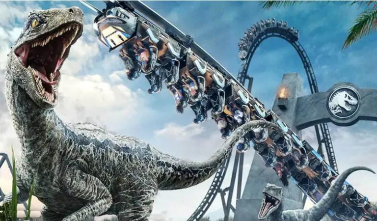 Inauguraron la Jurassic World VelociCoaster, la montaña rusa más alta 🎢🦖