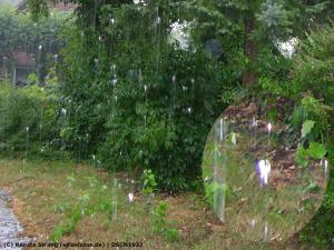 Strahlendweiße Lichtelfe im Regen