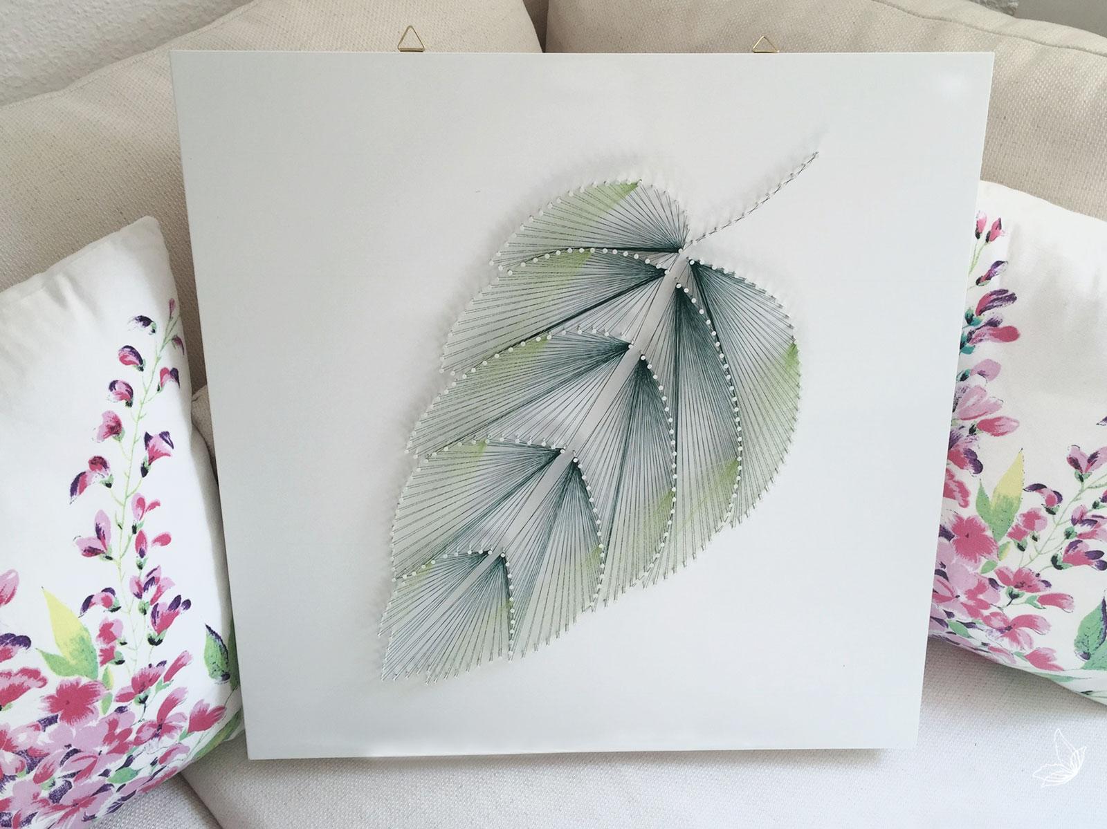 DIY Fadenbild Blatt aus Ngeln  elfenweiss