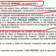 Documento exhibe que la Fiscalía es responsable de albergar cadáveres en tráilers