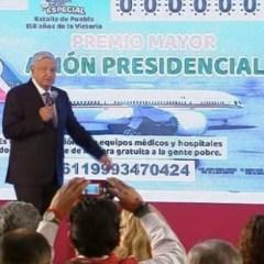 Serán 100 los ganadores de la rifa del avión presidencial; el premio será en efectivo
