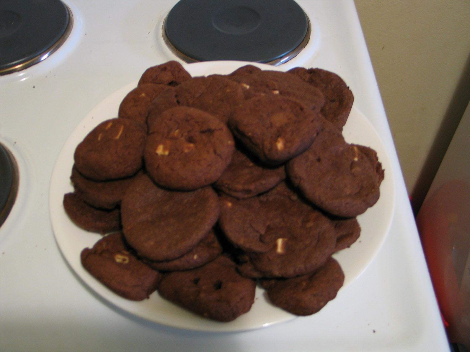 Home-made vegan / gluten-free triple choc cookies