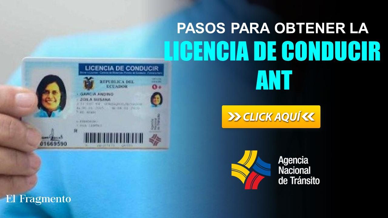 Pasos para obtener la licencia de conducir ANT