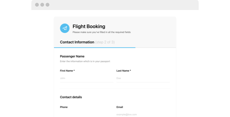Our free form templates cover most industry niches. Online Flight Booking Form Widget Template For Website 2021