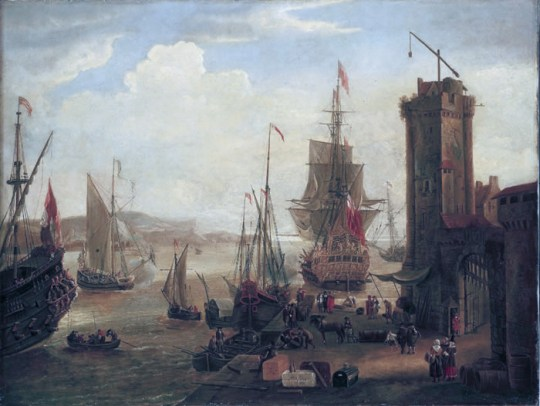 Jacob_Knyff_English_and_dutch_ships_taking_on_stores_at_a_port