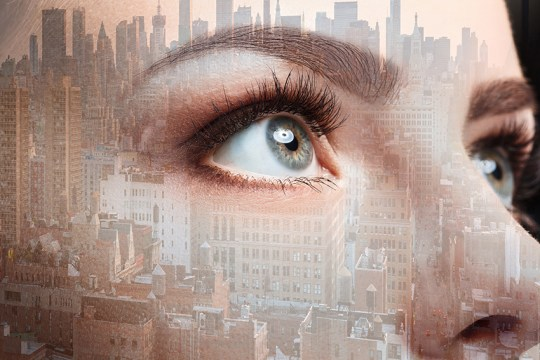 Photo of woman eye and business city. Double exposure