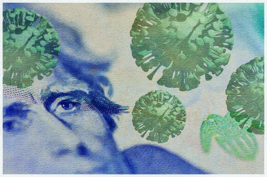Watercolor filtered American twenty dollar bill, on which 3D rendered COVID- 19 virus has been applied.
