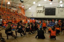 "Seniors losing to the Sophomores in ""Tug of War."""