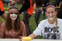Juniors smile for the camera after scarfing down an entire pie