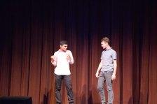 Luke Stewart and Ritaank Tiwari, MC's for the night make the crowd laugh