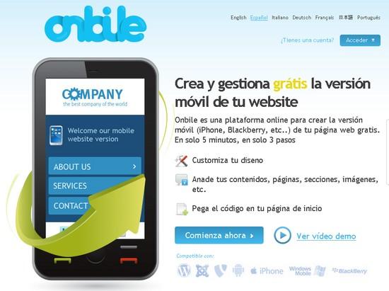 onbile Crea una versión para móviles de tu sitio web