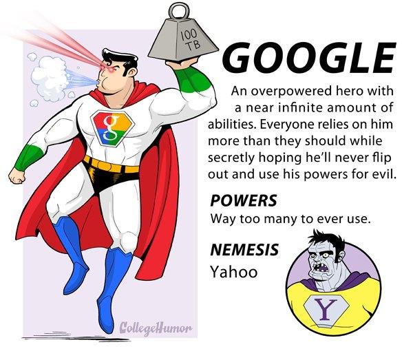 google Las grandes potencias de internet como superhéroes