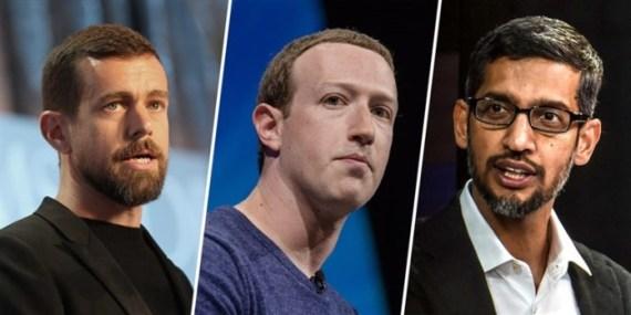 Jack Dorsey (Twitter), Mark Zuckerberg (Facebook) y Sundar Pichai (Google)