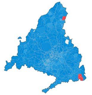 Mapa del partido ganador en cada municipio de Madrid