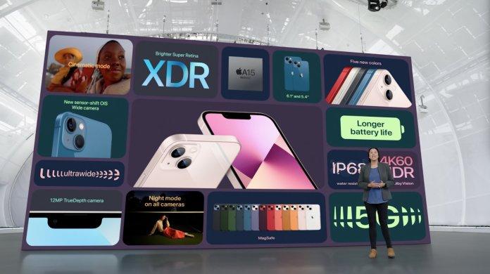 Resumen de las características del iPhone 13.   Fuente: Apple