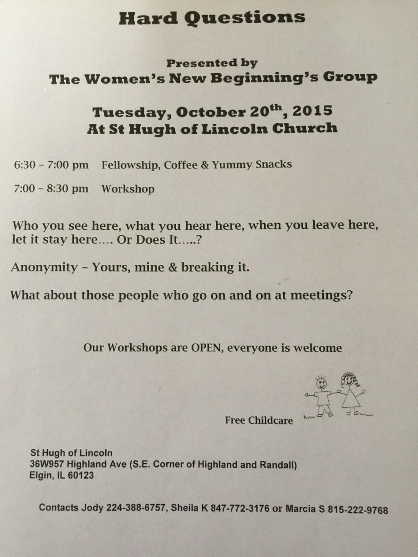 Hard Questions Workshop 1