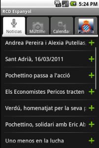 Pantallazo primera versión app