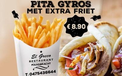 Pita gyros met extra friet