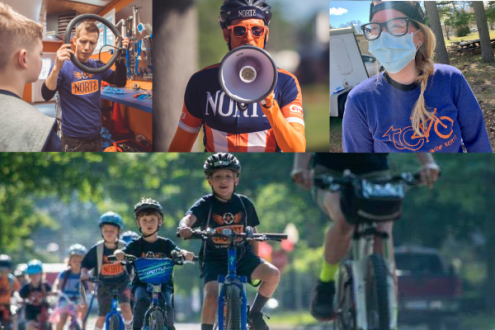 Image of smiling kids on bikes and Norte team members.