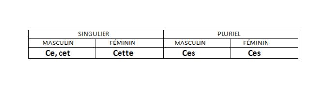 Adjectifs démonstratils