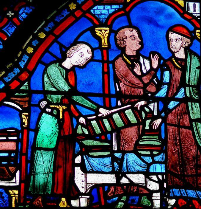 _Vitrail de l'histoire de la vie de saint Jacques le Majeur -Drapiers - Photo Mossot
