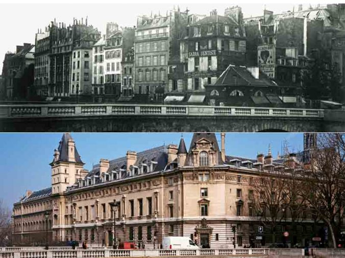 Quai des Orfèvres et Pont Saint-Michel avant et après Haussmann - Photo Lefigaro
