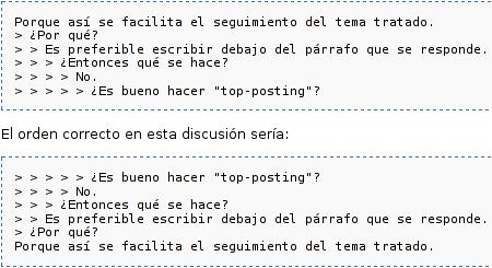 ejemplo de top-posting