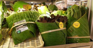 , Supermercados en Tailandia reemplazan plástico por hojas de plátano