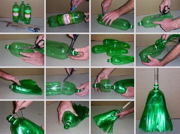 Como fabricar tus escobas re-utilizando botellas de plástico, paso a paso