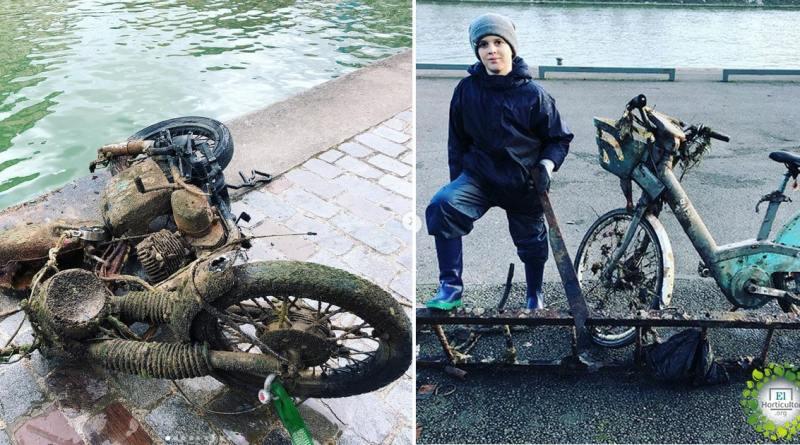 , El niño de 10 años que limpia el río Sena con imanes ya ha recogido 7 toneladas de desechos