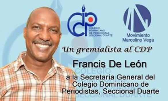ELIGEN A FRANCIS DE LEÓN DEL MOVIMIENTO MARCELINO VEGA COMO SECRETARIO GENERAL DEL CDP EN LA SECCIONAL DUARTE, el humanista.do le felicita.