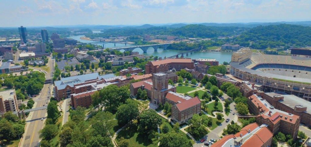 Drone photo of UT Campus