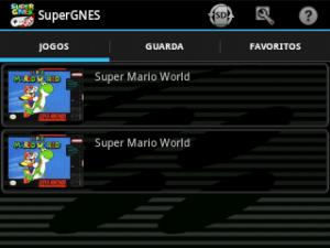 SuperGNES Lite (SNES emulator) - Tela inicial