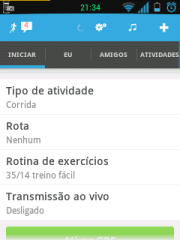 Tela inicial do RunKeeper