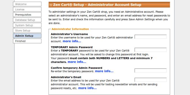 Zen Cart - Configuração da conta de administrador